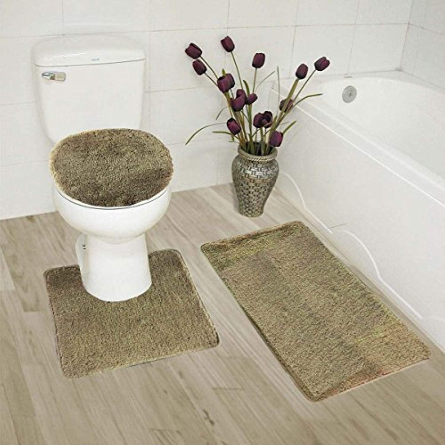 Mk Home Collection 3 Piece Bathroom Rug Set Bath Rug Contour Mat And Lid Cover Non Slip With Rubber Backing Soli Bath Rugs Sets Memory Foam Bath Rugs Rug Sets