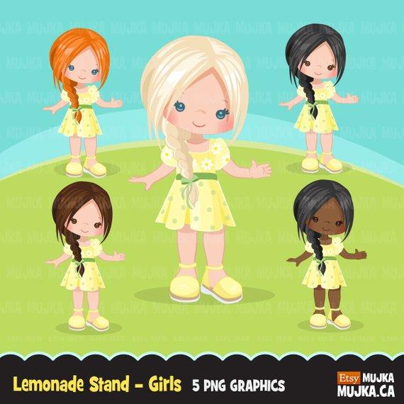 Lemonade Stand Girls Clipart Cute Spring Summer Birthday Graphics