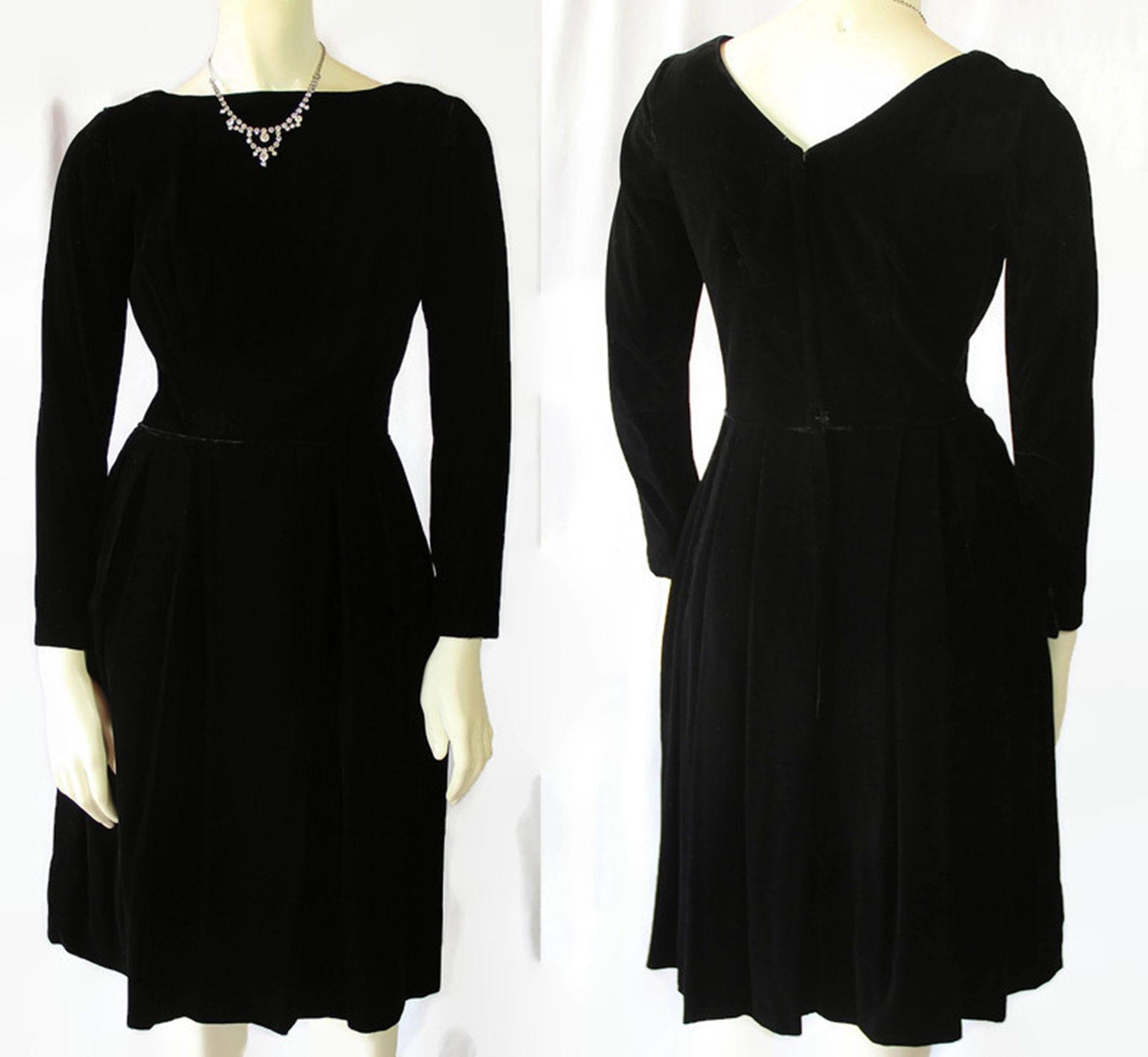 60s Black Velvet Dress Cocktail Holiday Party Black Velvet Dress Velvet Dress Dresses [ 1916 x 2080 Pixel ]
