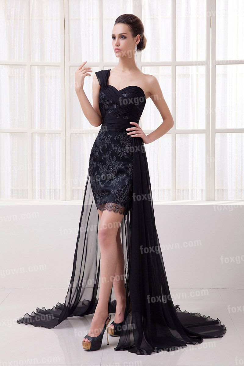 embroidery black one-shoulder sweetheart scalloped lace prom dress with empire