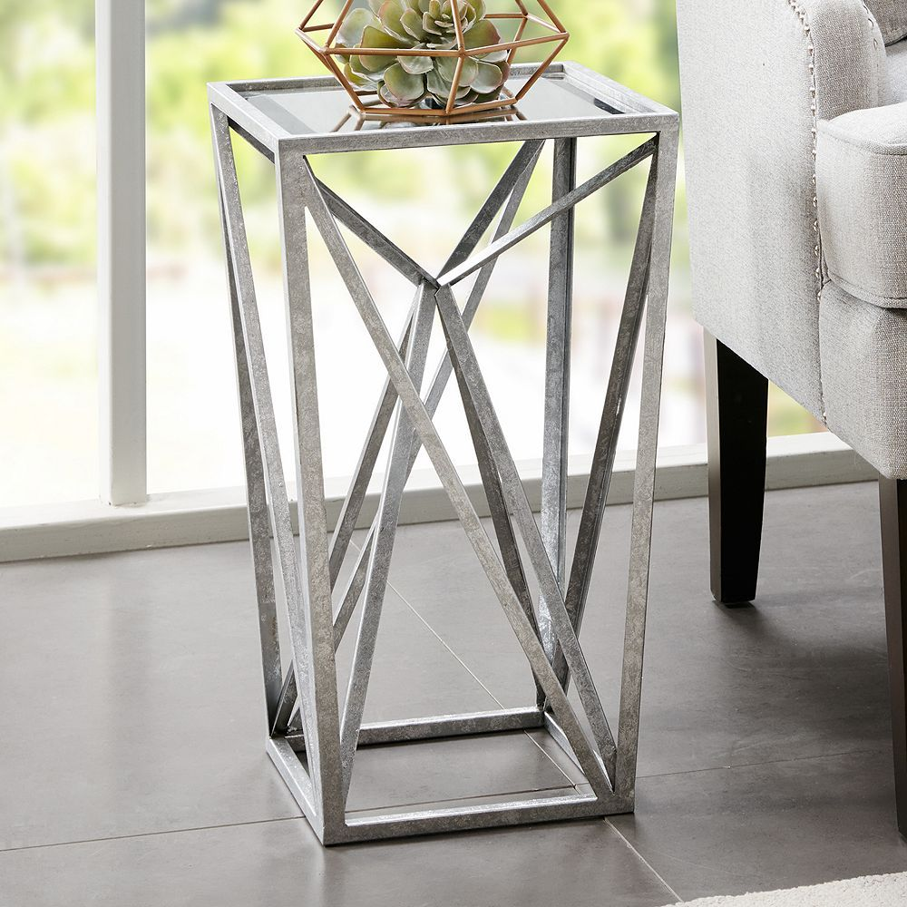 Madison Park Mirrored Silver Finish End Table Mirrored Accent