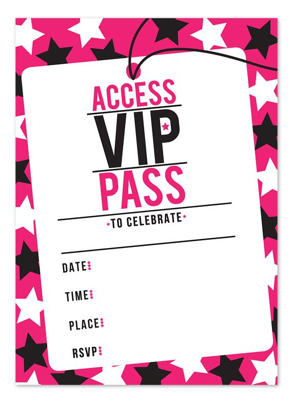 photograph regarding Free Printable Vip Pass Template titled Pin upon Commencement invites for Donna