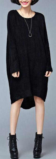 08f5766ecb0 Autumn casual black sweater dresses oversize long sleeve knit ...