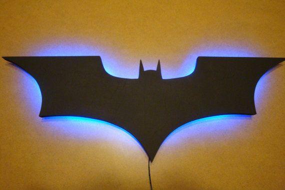 Batman logo led wall light night light batman walls and etsy batman logo led wall light night light mozeypictures Images