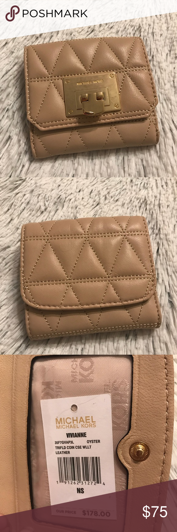 4b58aeb17422 NWT Michael Kors Vivianne Trifold Wallet Oyster Brand new with tags ...