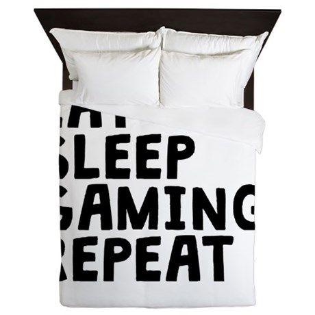 Eat Sleep Gaming Repeat Queen Duvet on CafePress.com