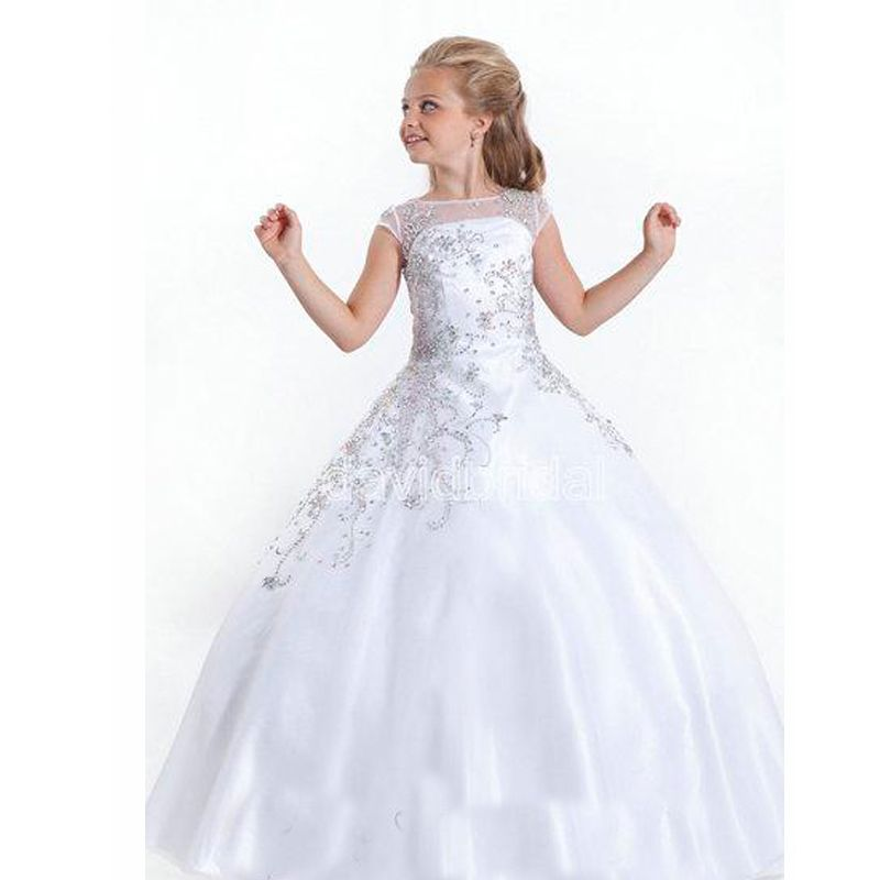 2015 pas cher cristal manches courtes Flowergirl blanc robes fille fleur  robes taille petits Pageant robes pour les petites filles(China (Mainland))