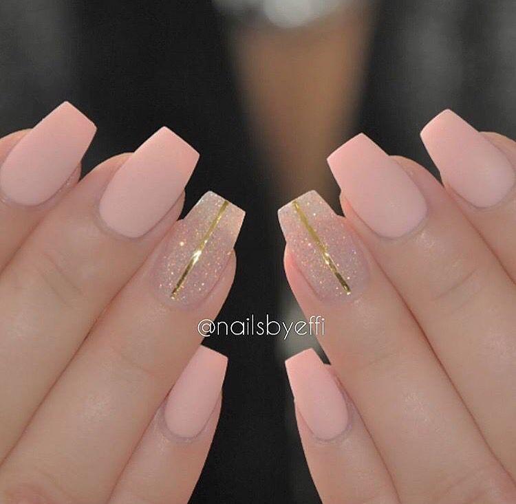 Light Pink Coffin Medium Length Pink Nails Nail Designs Matte Nails