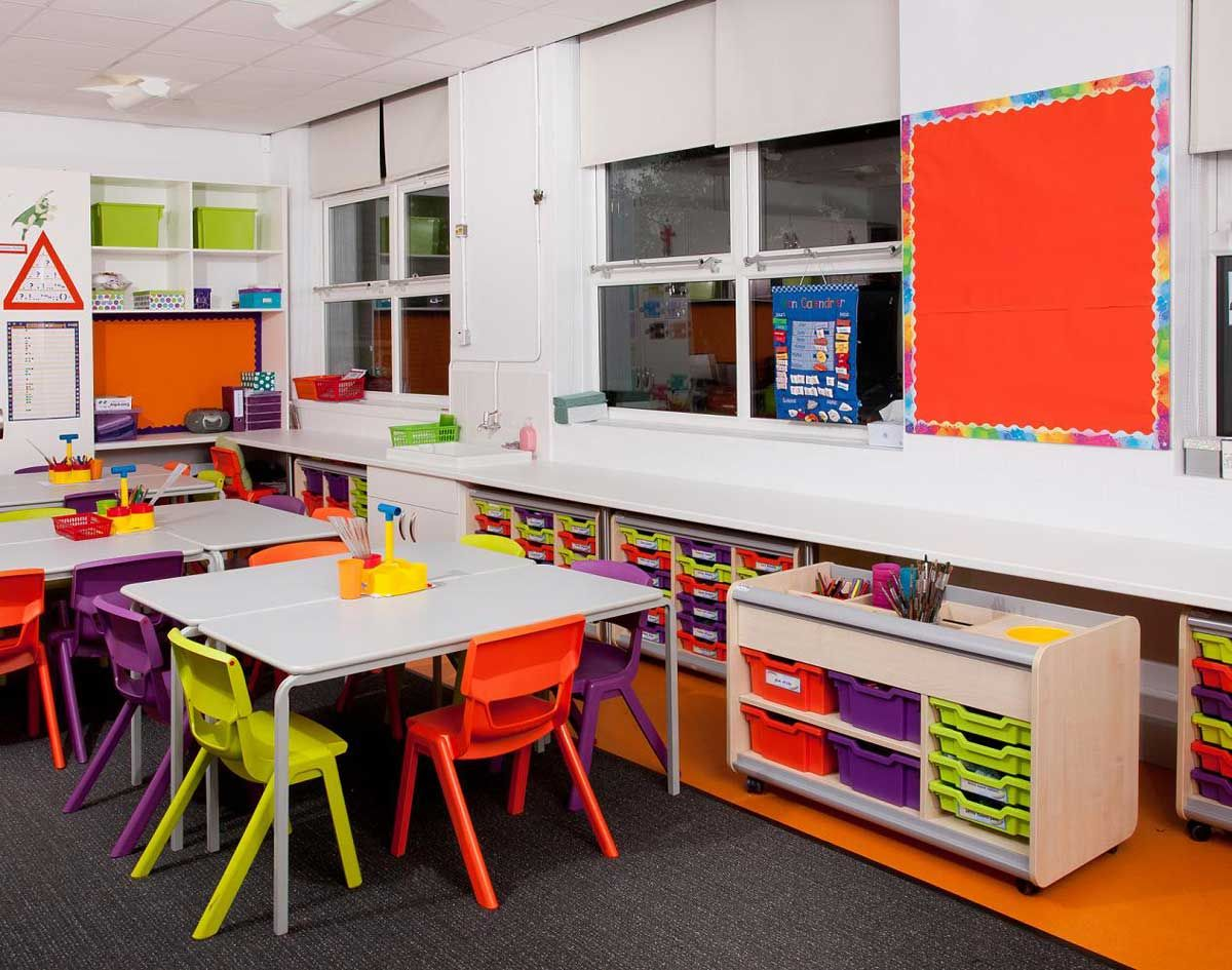 Small Interior Kids Classroom School Design Also Modern Furniture Classroom  Design Idea And Assorted Color Wall