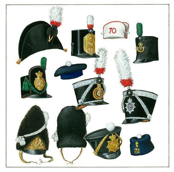 5c2a8966810 British army headgear 1800-1845 | militarism | British army uniform ...
