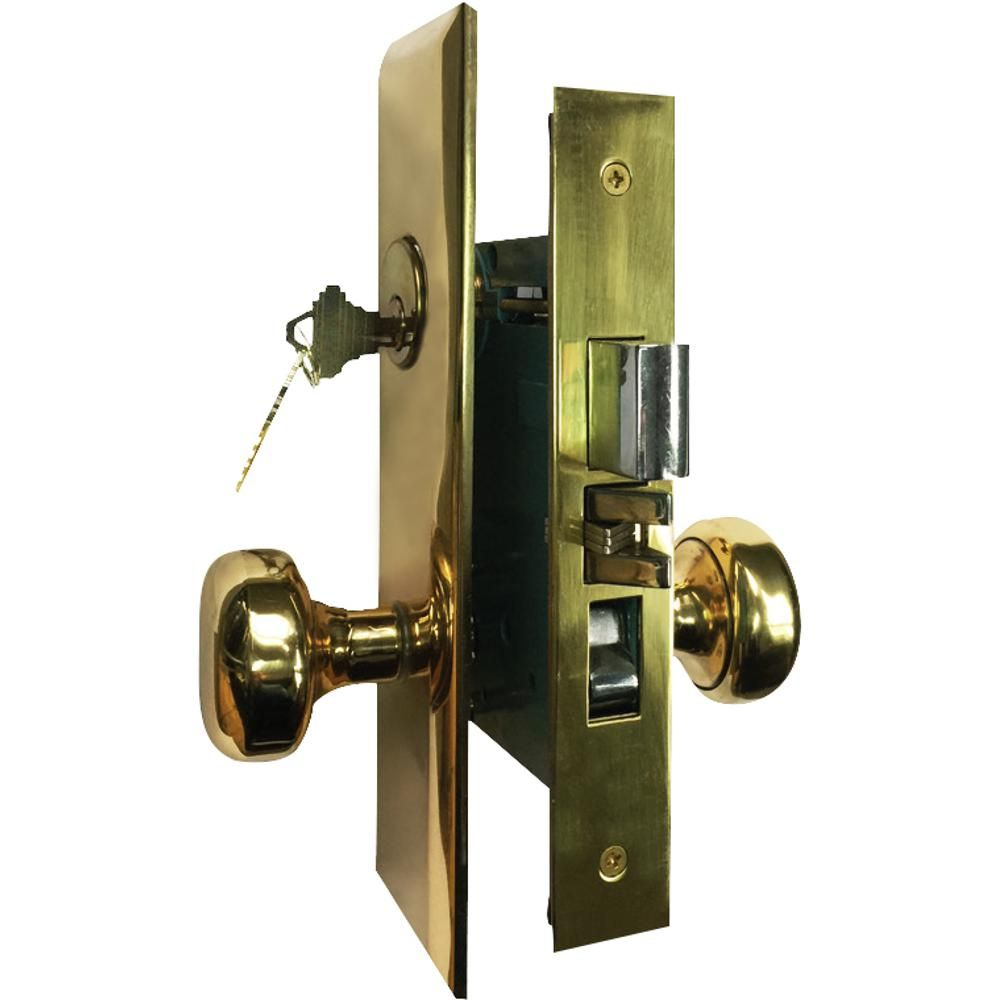 Grip Tight Tools Brass Mortise Entry Right Hand Door Lock Set Combo Pack With 2 3 4 In Backset 2 Sc1 Keys And Wide Face Plate Hex Products In 2019 Door L