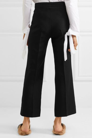 Horsebit-detailed Wool And Silk-blend Crepe Wide-leg Pants - Black Gucci dyfsAfhKN