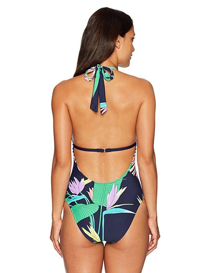 9c9e28cbd1 Trina Turk Women's Midnight Paradise V-Plunge One Piece Swimsuit: Trina Turk:  Clothing