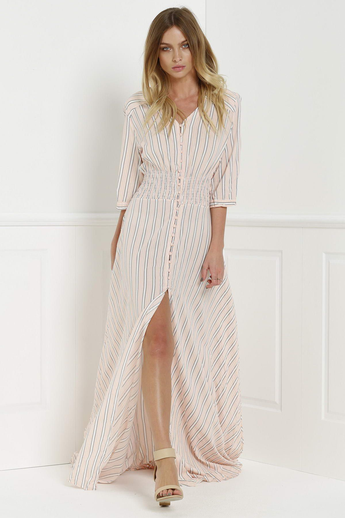 Button Front Stripe 3 4 Sleeve Maxi Dress Pink Maxi Dress With Sleeves Maxi Dress Fashion [ 1800 x 1200 Pixel ]