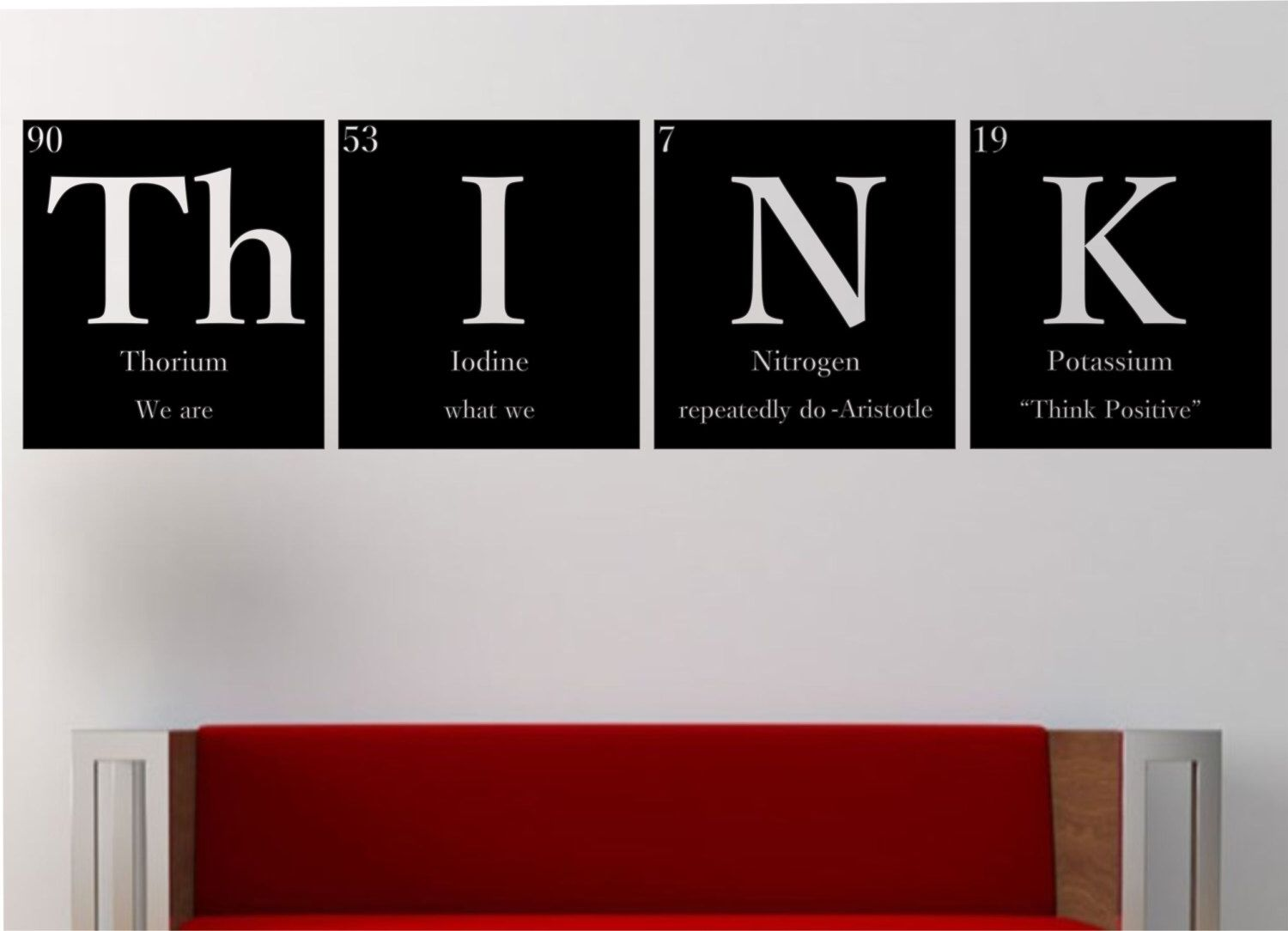 Think with quote periodic table elements vinyl wall for Room decor ideas for nerds