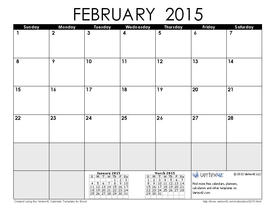 Printable February 2015 Calendar Only 2015 Calendar Templates