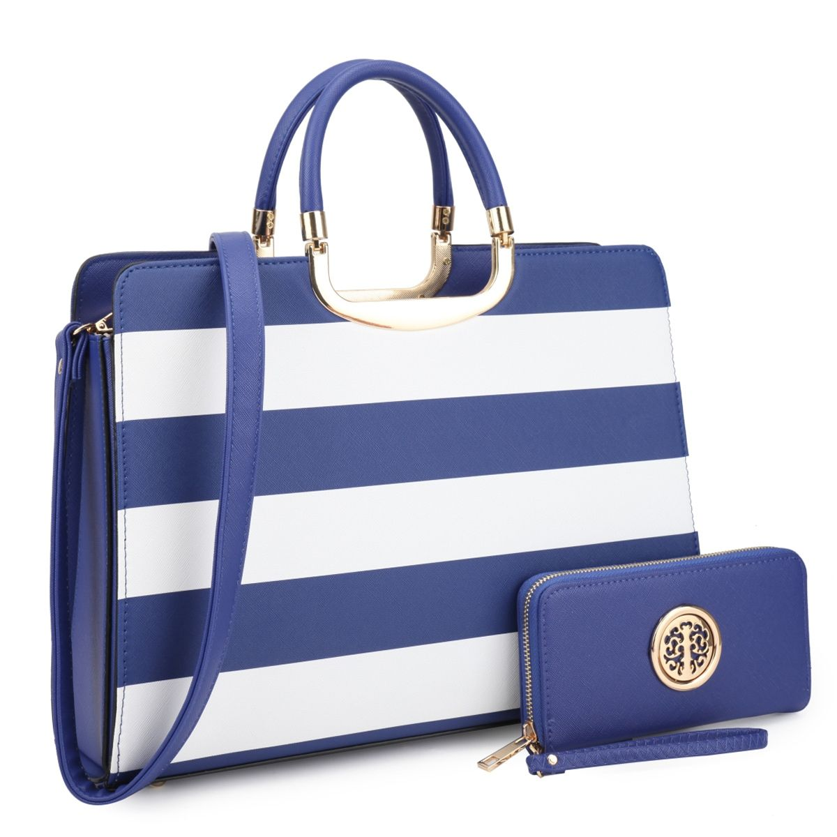 f62c4121db3c Dasein Women s Handbag PU leather Top Handle Briefcase with Matching Wallet  (White Blue)