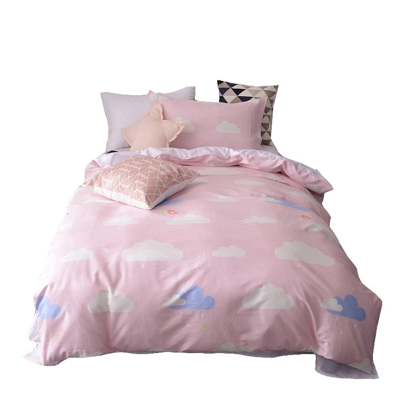 50 100 Cotton 3 Piece Pink Duvet Cover With Zipper Closure Clouds Print Sweetly Bed Sheet Soft Pillowcase Bedd Pink Duvet Cover Duvet Covers Soft Pillowcase
