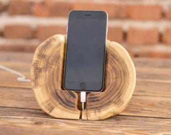 Rustikale Docking-Station, Holz iPhone 6 Ständer, Samsung Galaxy S6-Halter-Docking-Station, Männer-Geschenk, Telefon Stand, Iphone 7, Geburtstagsgeschenk, Holz