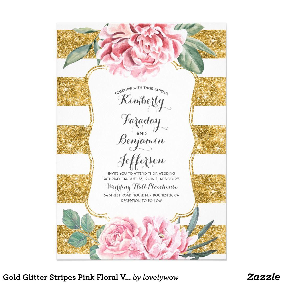 Gold Glitter Stripes Pink Floral Vintage Wedding Card | Gold glitter ...