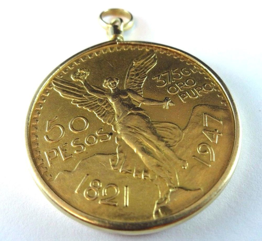 Details About 1945 Gold Mexico 50 Pesos In 14k Pendant