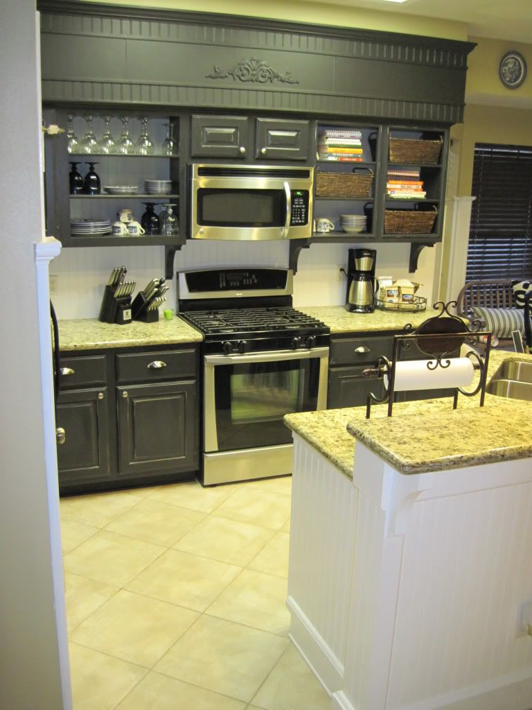 Kitchen re-do on a budget. above upper cabinet...but not ...