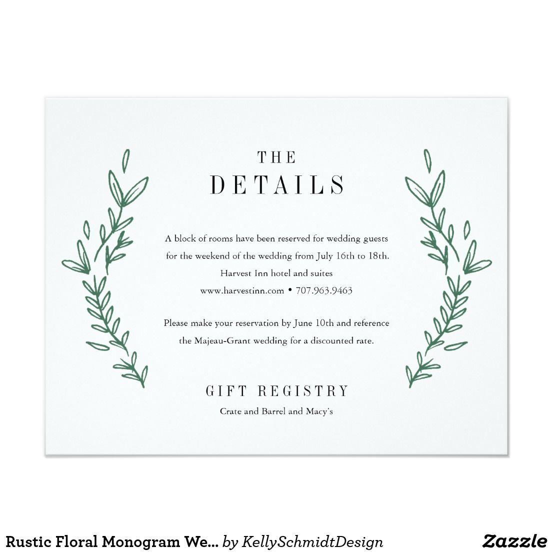 Rustic Floral Monogram Wedding Details Card Favors Wedding And