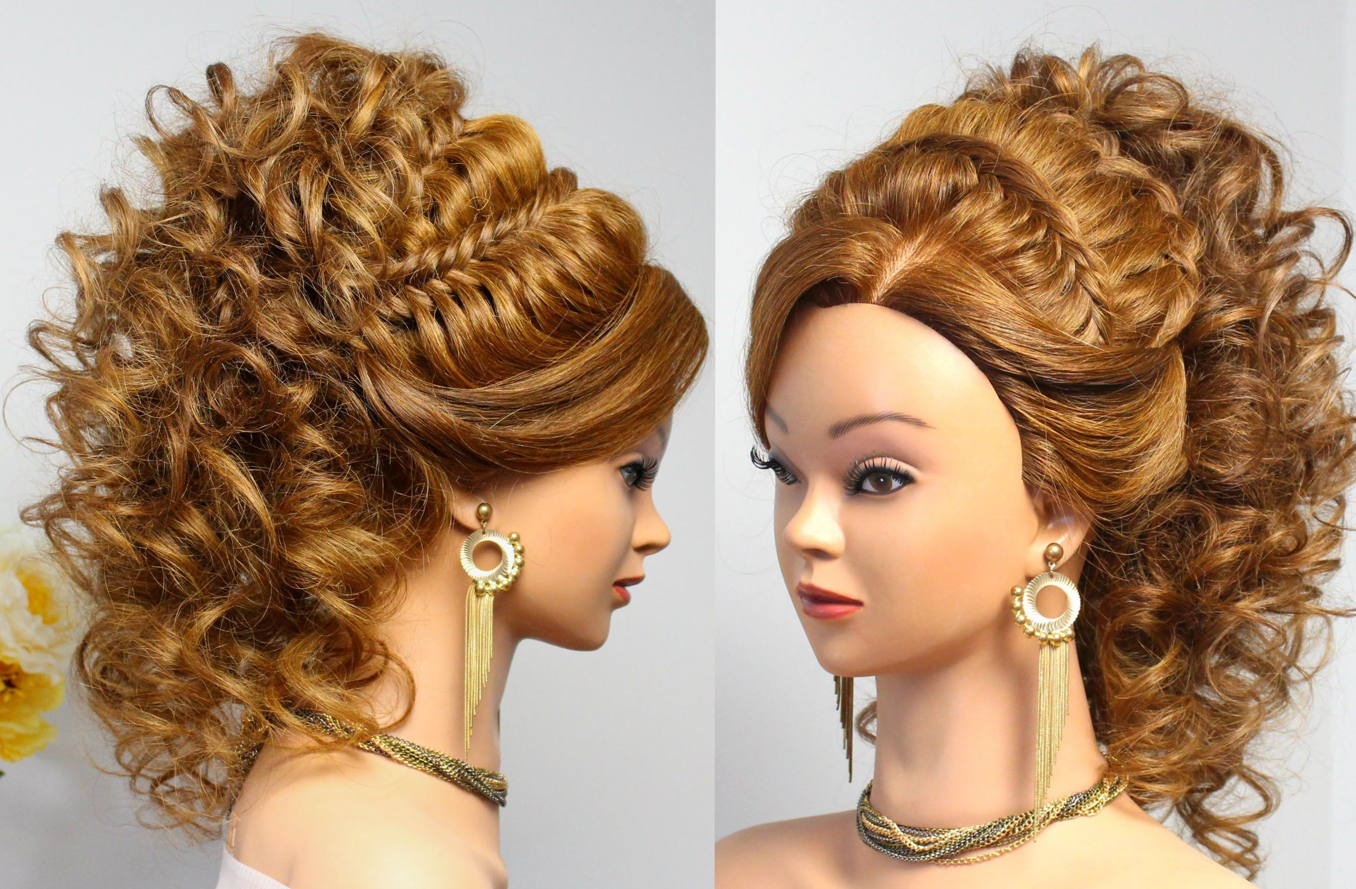 Curly prom wedding hairstyle for long hair tutorial