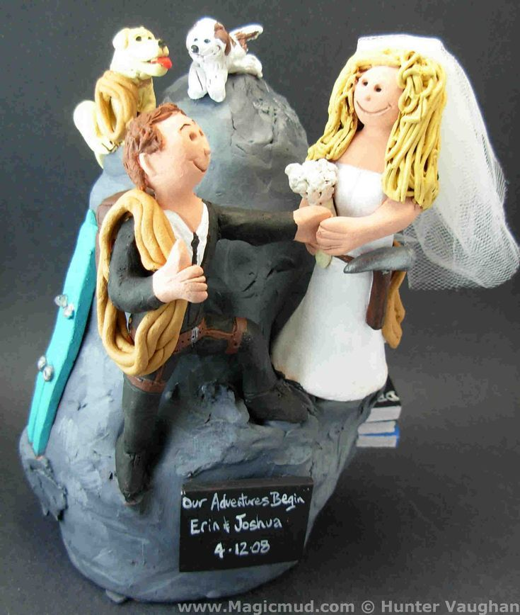 Rock Climbers Cake Topper This marriage is really off to a rocky start! Both the bride and the groom love rock climbing....even their dogs are up there for the fun! $250#rock_climbers#climbers#mountain#climbing#wedding #cake #toppers  #custom #personalize