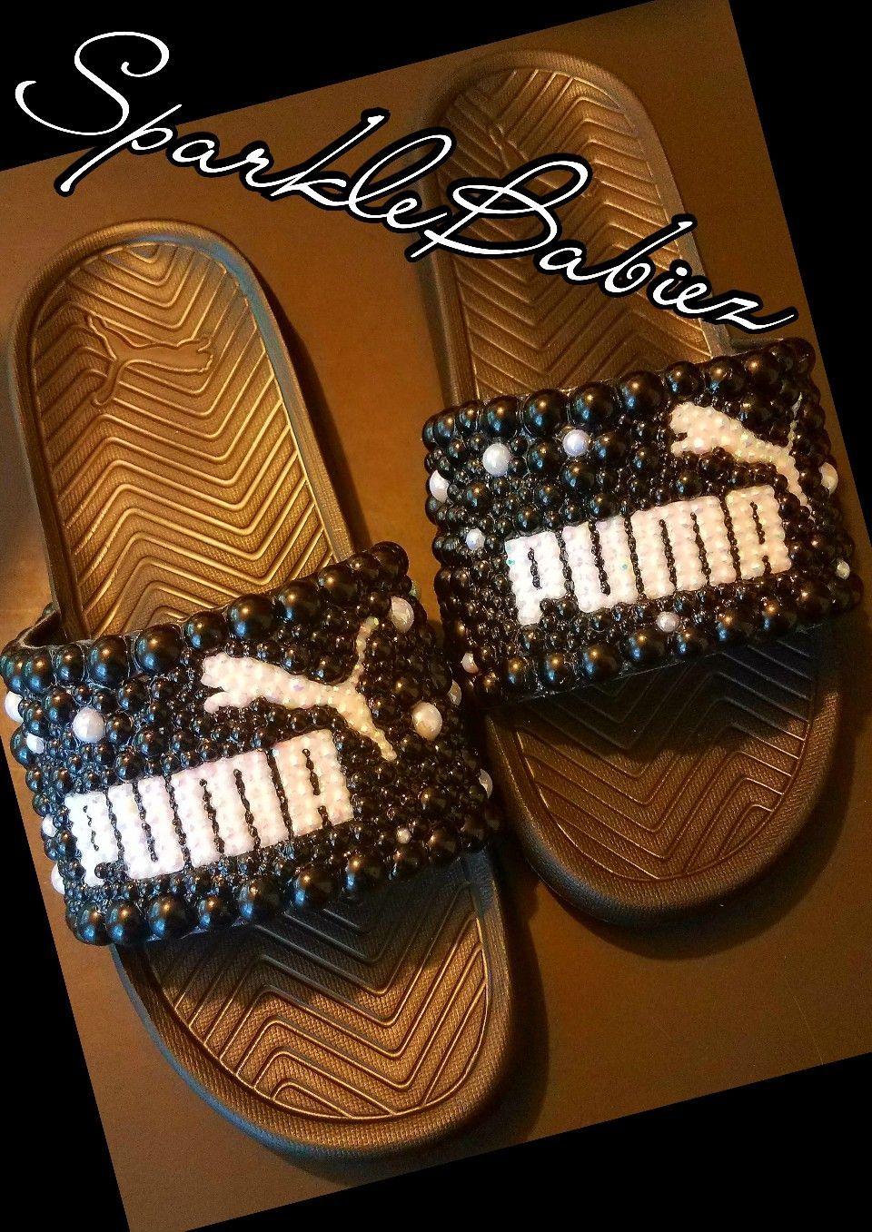 SparkleBabiez Bling Pearl Custom Puma Slides  WomenShoesTrends ... 0fb9ff9ba