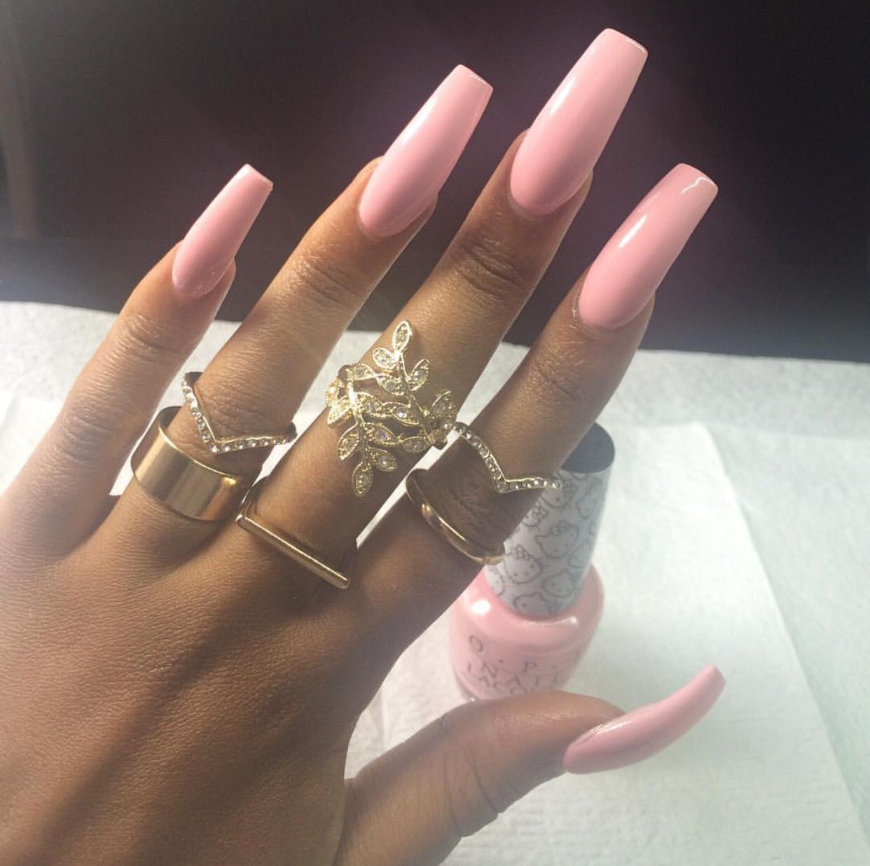 Cool Dynamic Strong Powerful Pink Long Acrylic Nails In 2019 Long Acrylic Nails Nails Cute Nails