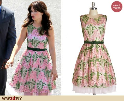 Zooey Deschanel's Pink and green floral illusion dress on New Girl season 4. Outfit Details: http://wwzdw.com/4652