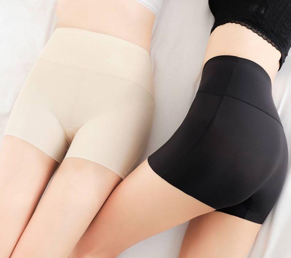 Summer Women Seamless Ice Silk Safety Shorts Leggings Pants High Waisted Bri BS