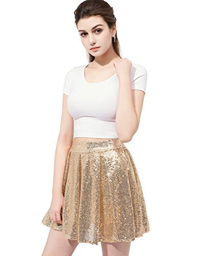 271b654a27 Sarahbridal Women's Long/Mine Party Prom Skirt Sequins Skirt Plus 12026.  anmor Gold Sequined Mini Skirt Cocktail Dress for Juniors... https://