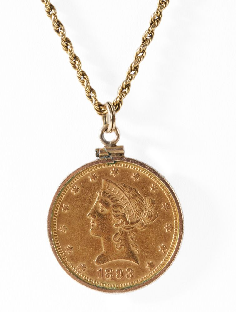 Brunk Auctions 1893 U S Ten Dollar Gold Coin Gold Coins Gold Gold Chains