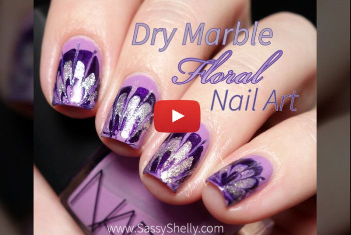 Dry Marble Floral Nail Art - No Water marble manicure with a video ...