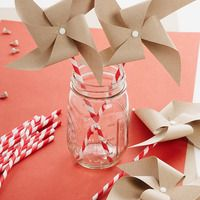 Paper pinwheels on paper straws in mason jar...love these for summer wedding favours! especially if you're having outdoor games
