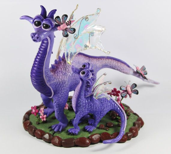 The Butterfly Guardians  OOAK polymer clay dragons by DebiMDesigns