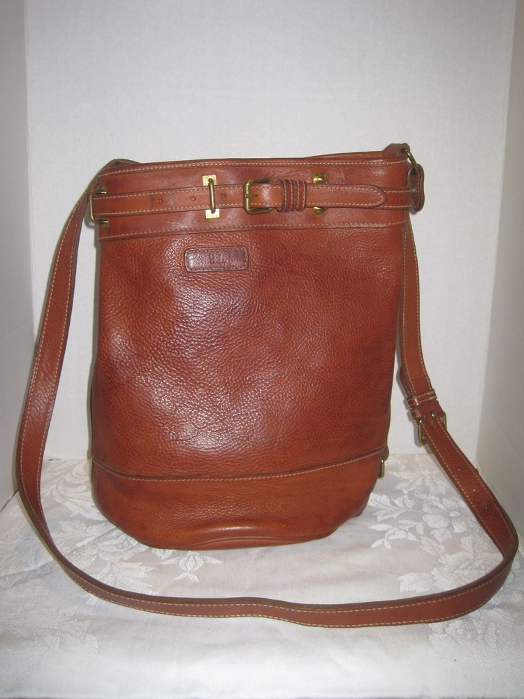 Polo Ralph Lauren Saddle Brown Pebbled Leather Bucket Bag Crossbody Vintage   RalphLauren  Hobo 878ec40ab94c9