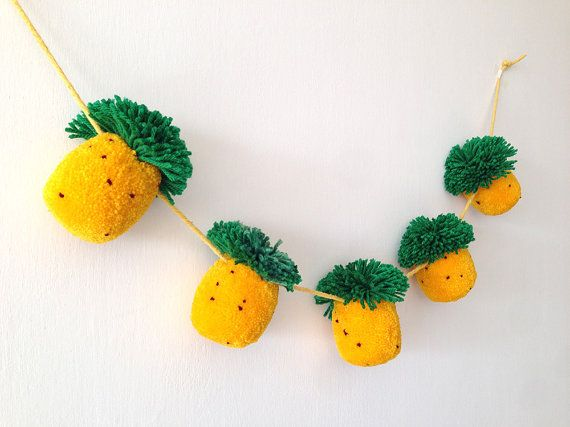 Pineapple Pom Pom Garland 5 Pom Poms by greenlaundry on Etsy