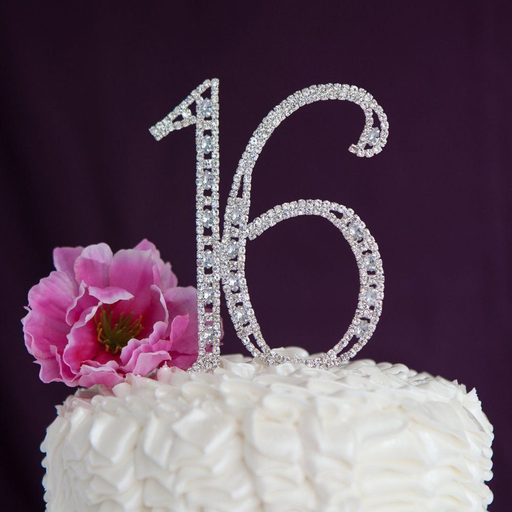Details about Sixteen 16 Birthday Number Silver Crystal