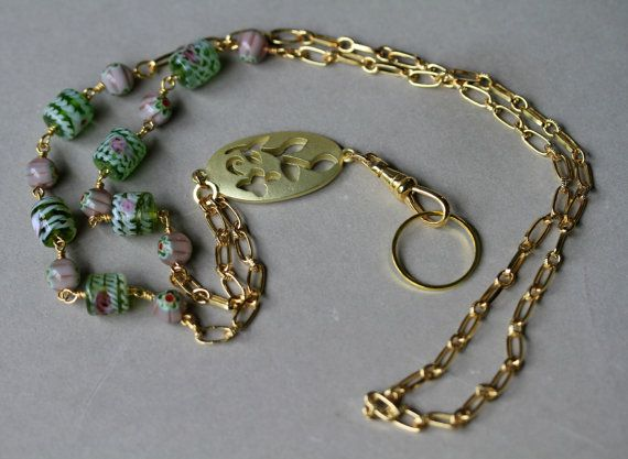 Pink and Green Floral Gold Accented Eyeglass/Badge Necklace