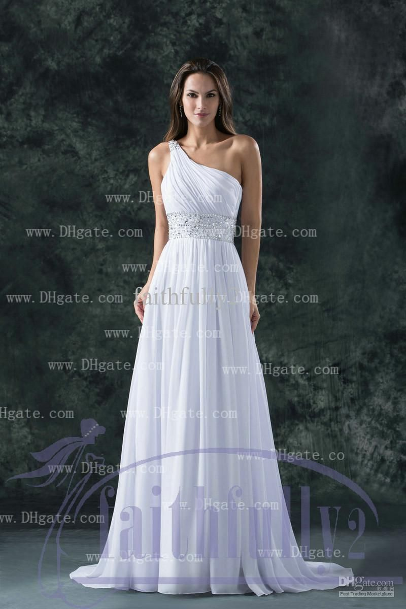 Sequined wedding dress  Modest Empire Wedding Dresses One Shoulder Pleats Ruching Sequins