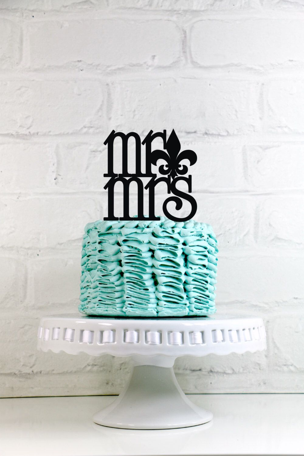 Mr Mrs Fleur de lis Wedding Cake Topper or Sign Perfect for New