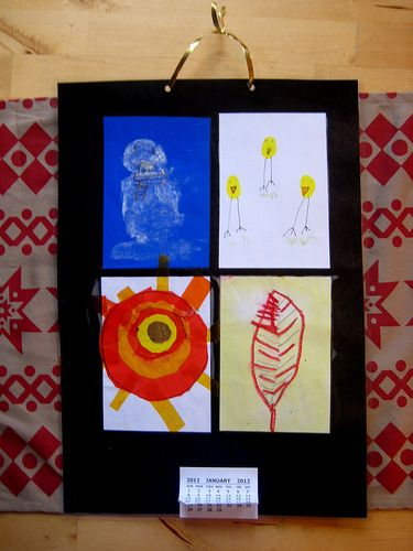Combine four art techniques to create a four seasons kids calendar
