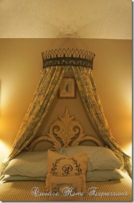DIY tutorial - Definitely want a head board like this in my room. So easy to make even can use a basic iron pot hanger for the queen valance.