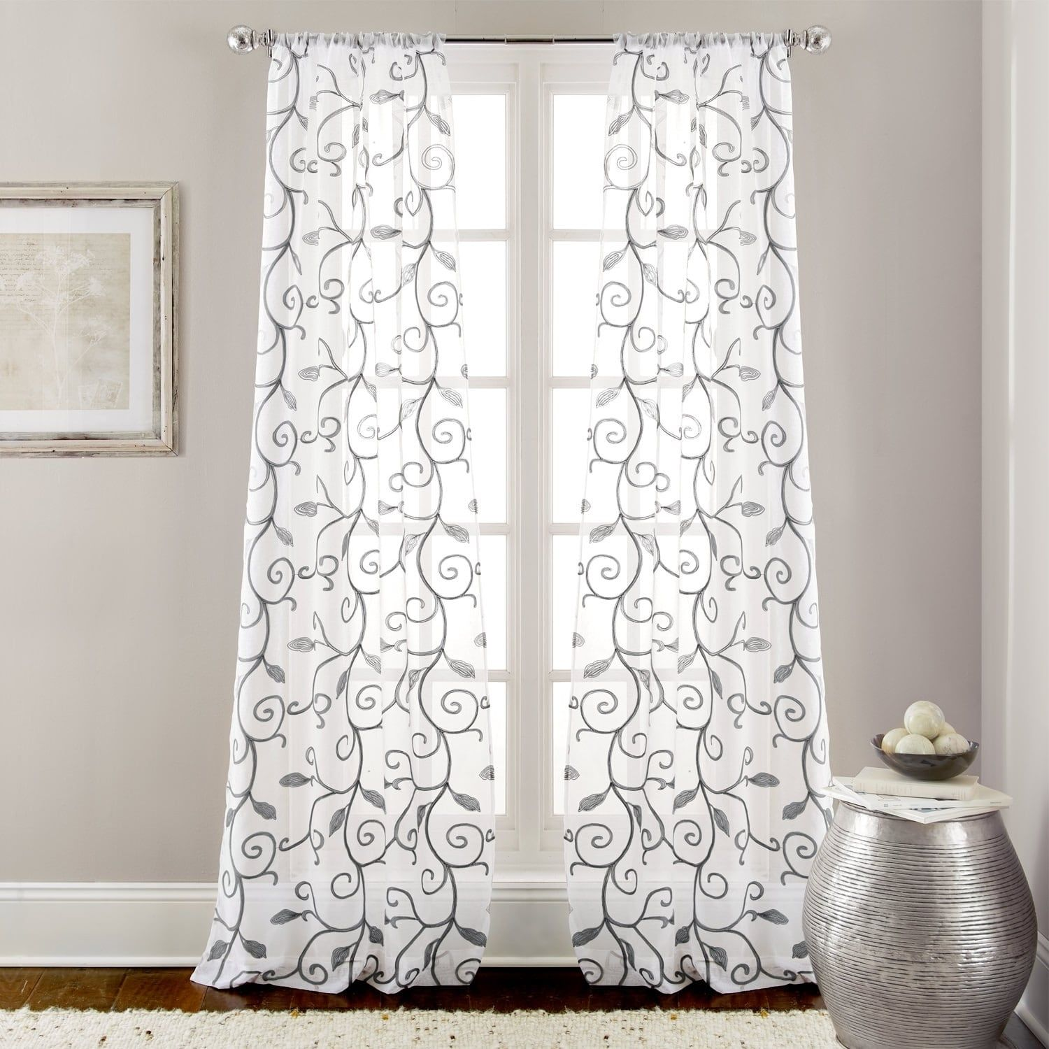 Amrapur Overseas Leaf Swirl Embroidered Curtain Panel Pair 37 X 84 White Polyester Floral Panel Curtains Curtains Decor