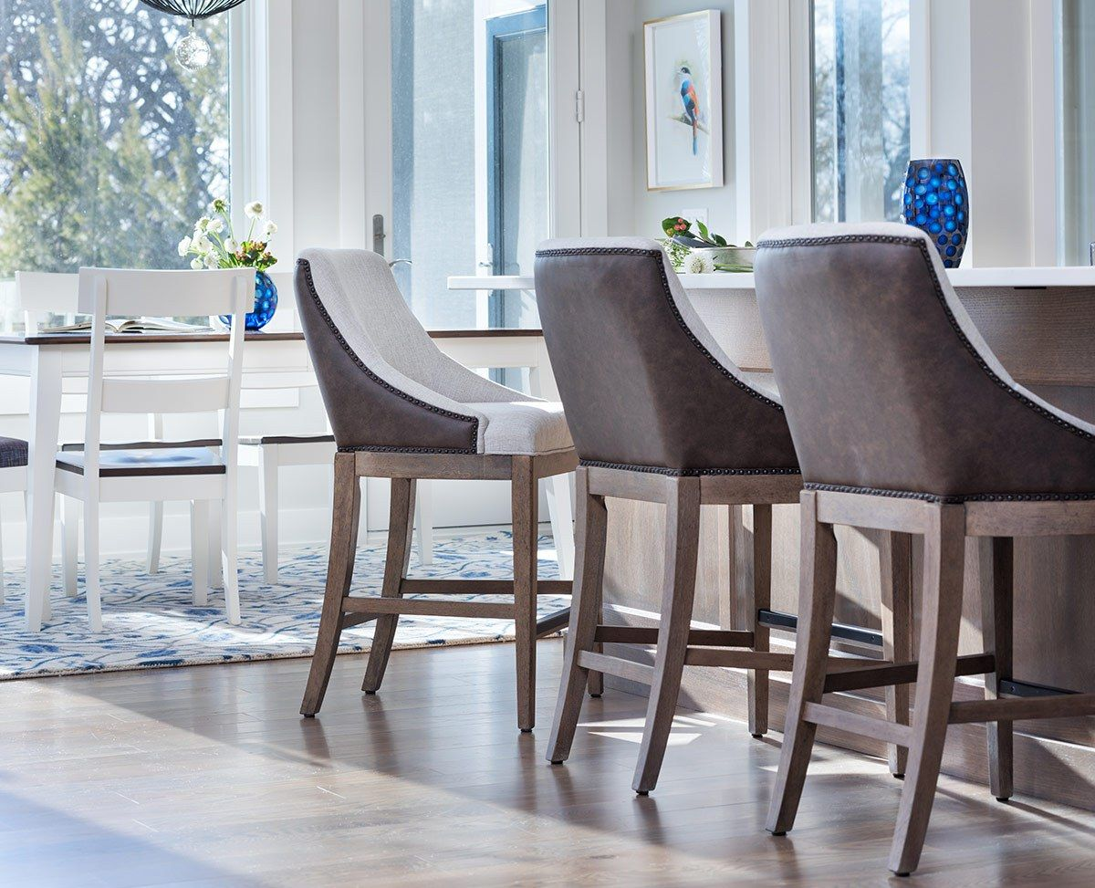 Bar stool height new traditional bar stools with a mixture of oak and fabric upholstery with linen and leather looks