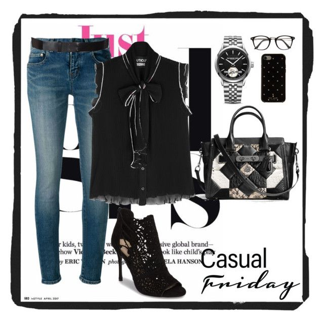 """Casual Friday 040"" by chinkie28 ❤ liked on Polyvore featuring Yves Saint Laurent, Boutique Moschino, Jessica Simpson, Coach, Raymond Weil, Kate Spade and Lanvin"