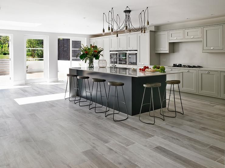 Best Gray Kitchen Features Light Gray Cabinets Adorned With 400 x 300